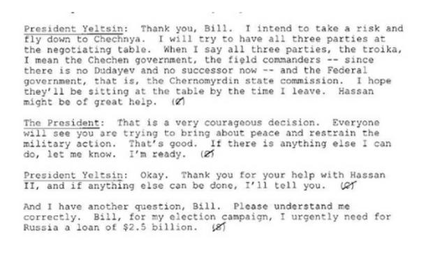 Ельцин просил у Клинтона $2,5 млрд на предвыборную кампанию