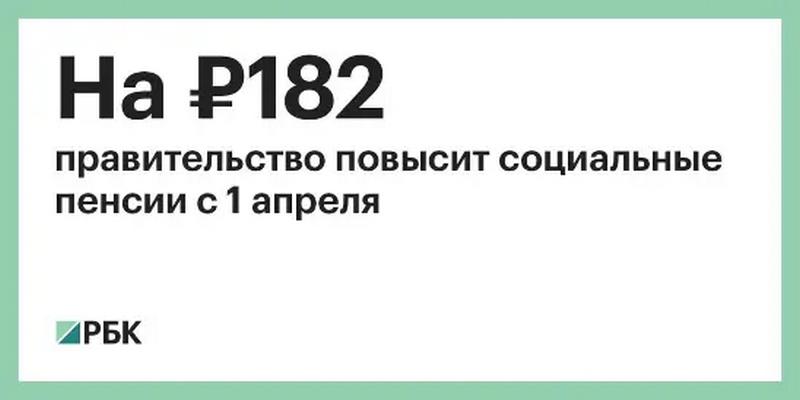 пенсии подрастут на 182 рубля
